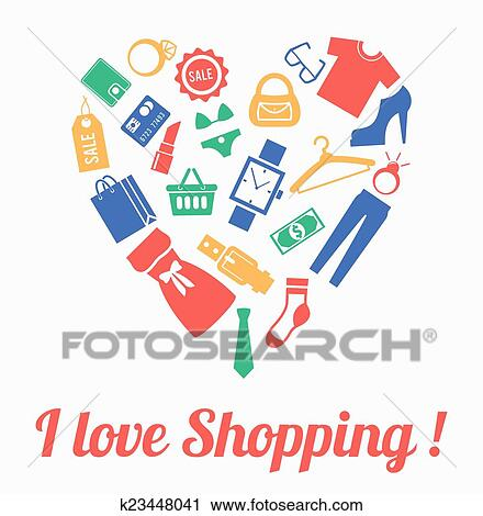 I love shopping, themed design with different elements:hanger, sale, shoes, heart gift,price tag, label, lipstick