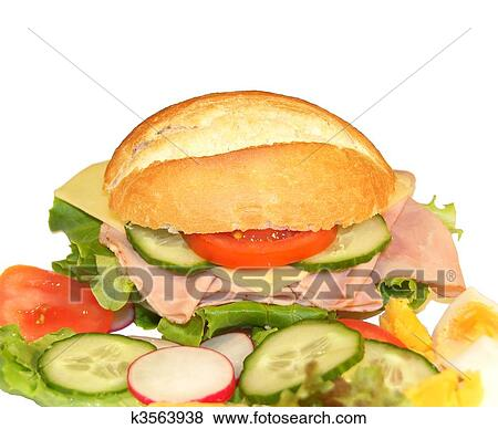 Stock Illustration of Sandwich with Ham and Cheese ...
