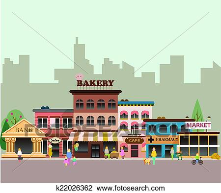 clipart of buildings of small business k22026362 search clip art rh fotosearch com clipart of church buildings clipart of apartment buildings
