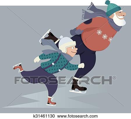 剪贴画 - 滑冰, 带, 爷爷图片