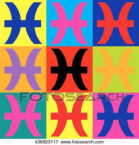剪贴画 - 双鱼座, 标志., pop-art, 风格, 图标, 放置.