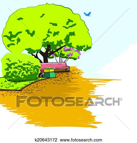 clipart of city park sketch background poster k20643172 search rh fotosearch com clip art party clip art parking lot striping