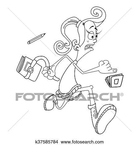 Schule clipart schwarz weiß  Clipart - schwarz weiß, mädchen, spät, für, schule k37585784 ...