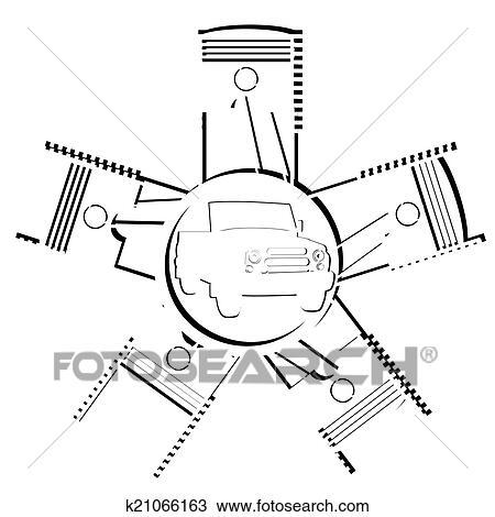 手绘图 - 汽车, 引擎