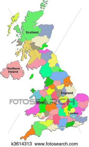 Clipart of UK map k3614313 - Search Clip Art, Illustration Murals ...