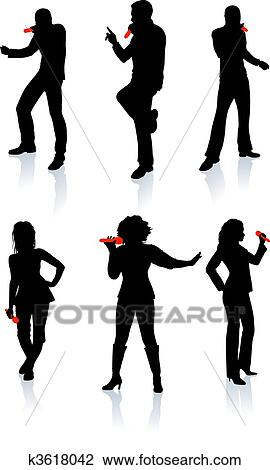 Clipart of Singers Silhouette Collection k3618042 - Search Clip ...