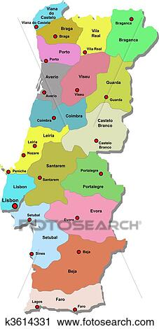 Clipart Of Portugal Map K Search Clip Art Illustration - Portugal map