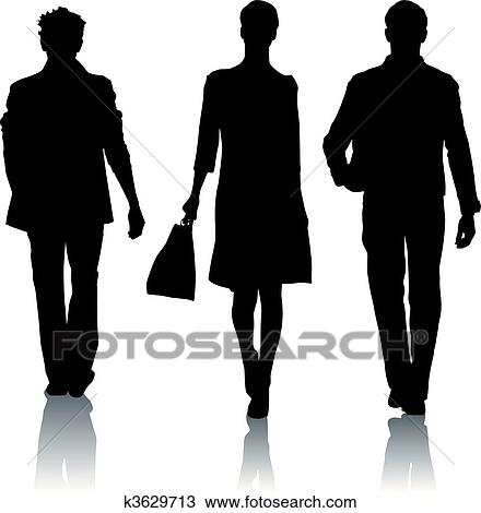 Clipart Of Silhouette Fashion Woman And Man K3629724
