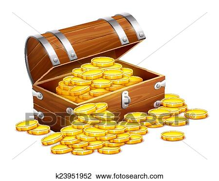 clipart of pirates trunk chest full of gold coins