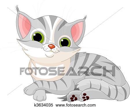 Clipart of Very cute cat k3634035 - Search Clip Art ...
