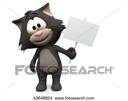 手绘图 - 漂亮, 卡通漫画, 猫, 握住, 空白, 标志.图片