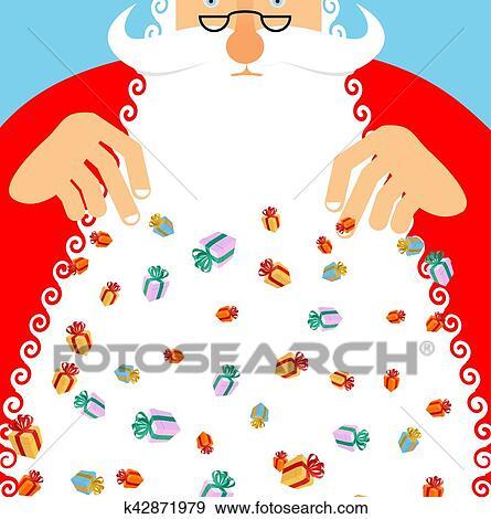 剪贴画 - 圣诞老人, 大雨, gifts., 礼物, 许多, 在中, 节日, box.图片
