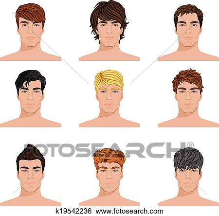clip art of different hairstyle men faces icons set k19542236