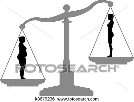 Clip Art of Fat Fit Weight loss Diet Scale before after ...