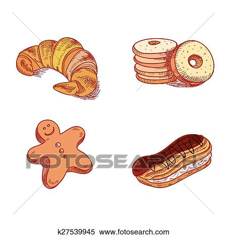 clipart main dessin croquis confections dessert patisserie boulangerie produits. Black Bedroom Furniture Sets. Home Design Ideas
