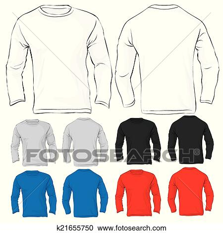 Clipart of Men\'s Long Sleeved T-Shirt Template in Many Color ...