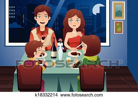clipart familie abend essen in a modernes haus k18332214 suche clip art illustration. Black Bedroom Furniture Sets. Home Design Ideas