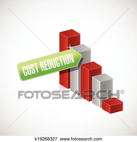 Clip Art of cost reduction business graph illustration ...