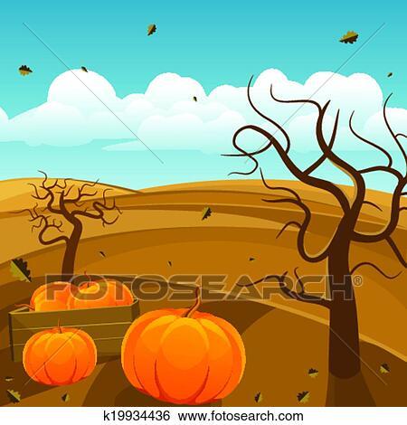 剪贴画 - 秋天风景, 背景