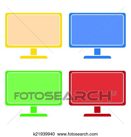 Clipart of desktop computer colored set vector k21939940 - Search ...