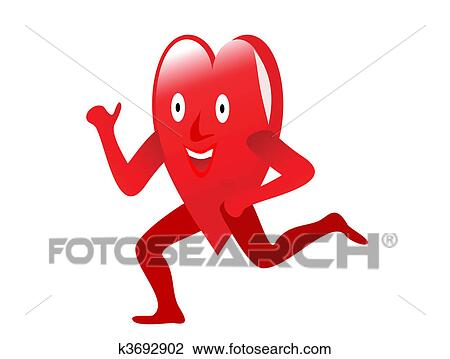 Clipart of A red cartoon heart lifting weights depicting ...
