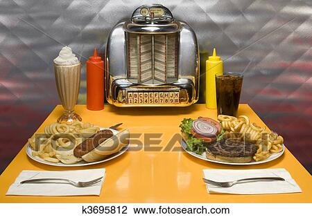 Retro Diner View Large Illustration