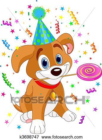 剪贴画 - 生日, 小狗