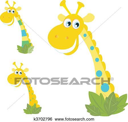 Clip art tre giallo giraffa teste isolato k3702796 - Cartone animato giraffe immagini ...