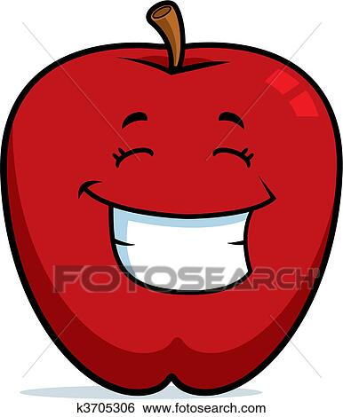 a, 卡通漫画, 红的苹果, 开心, 同时,, 微笑.