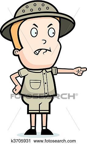 a, 卡通漫画, 孩子, 探险家, 带, 一, 愤怒, expression.图片