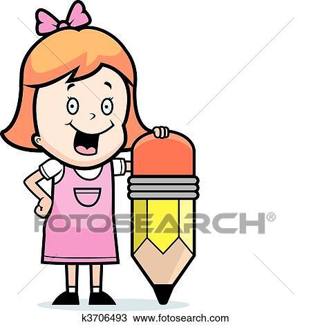 剪贴画 - 女孩, 铅笔