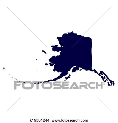 Clipart Of Map Of The US State Of Alaska K19501244