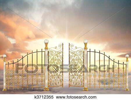 Stock Illustration of Pearly Gates Landscape k3712355 ... Open Gates Of Heaven Drawing