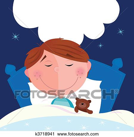 Clipart of Small boy sleeping in bed k3718941 - Search