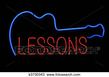 Stock Photo Of Guitar Lessons Neon Sign K3730343