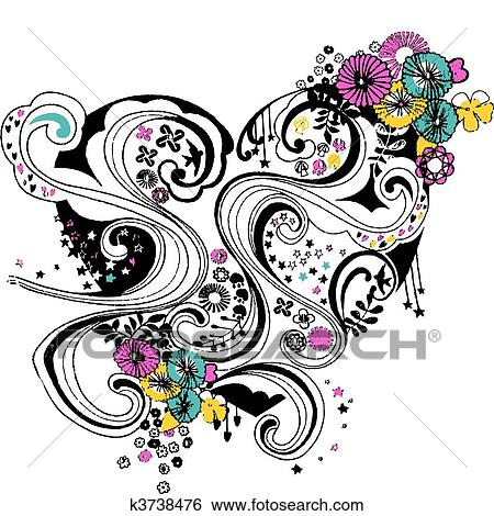 clip art spirale schn rkel blume herz design k3738476 suche clipart poster. Black Bedroom Furniture Sets. Home Design Ideas