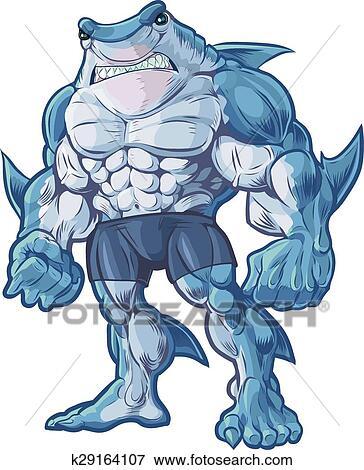 剪贴画 - 鲨鱼, 人, 矢量, 卡通漫画图片