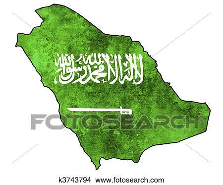 手绘图 - 沙特阿拉伯, 地图