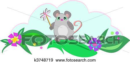 剪贴画 - 老鼠, 带, 蜻蜓, 棍
