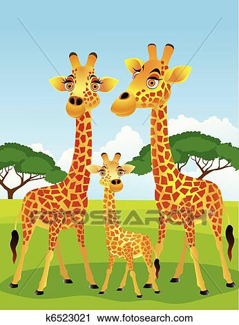 Clipart girafe famille k6523021 recherchez des clip - Girafe rigolote ...