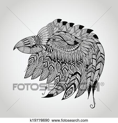 clipart vecteur tatouage aigle t te k19778690. Black Bedroom Furniture Sets. Home Design Ideas