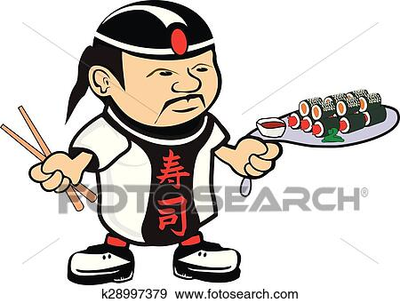 clip art of asian chef cook k28997379 search clipart illustration rh fotosearch com clipart asian woman asian clipart