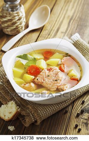 Рыбный суп из лосося консервов