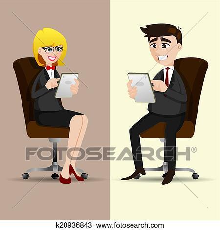 Clipart dessin anim businesspeople s 39 asseoir chaise for S asseoir sans chaise