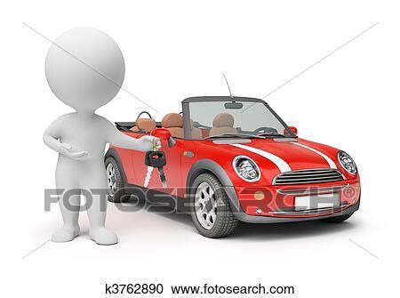 banque d 39 illustrations 3d petit gens cl s voiture k3762890 recherchez des cliparts. Black Bedroom Furniture Sets. Home Design Ideas