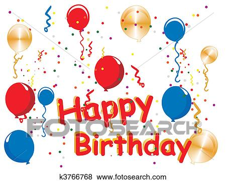 Clip Art of Happy Birthday celebrations k3766768 - Search Clipart ...