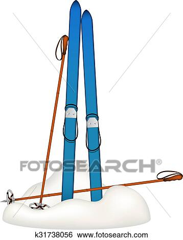 clip art of old skis and old ski poles in snow k31738056 search rh fotosearch com