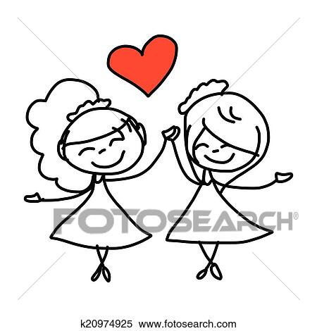 clipart of hand drawing cartoon happy couple wedding