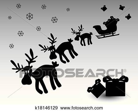 clip art schwarz wei weihnachten rentier mit geschenke eps10 k18146129 suche clipart. Black Bedroom Furniture Sets. Home Design Ideas