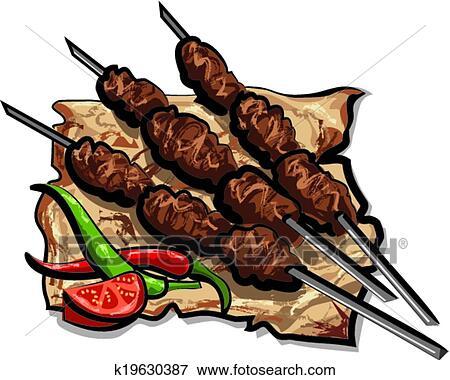 Clipart grill chiche kebab k19630387 recherchez des for Cuisinier kebab